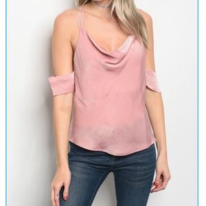 Dusty Rose Cold Shoulder Top